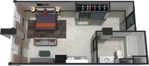 Studio / 1 Bath / 382 sq ft / Rent: $1,050