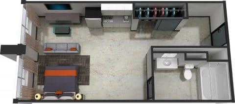 Studio / 1 Bath / 555 sq ft / Rent: $1,365